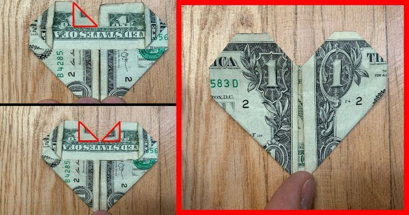 How to Fold a Dollar Bill Into an Origami Heart | HGTV | 420x800