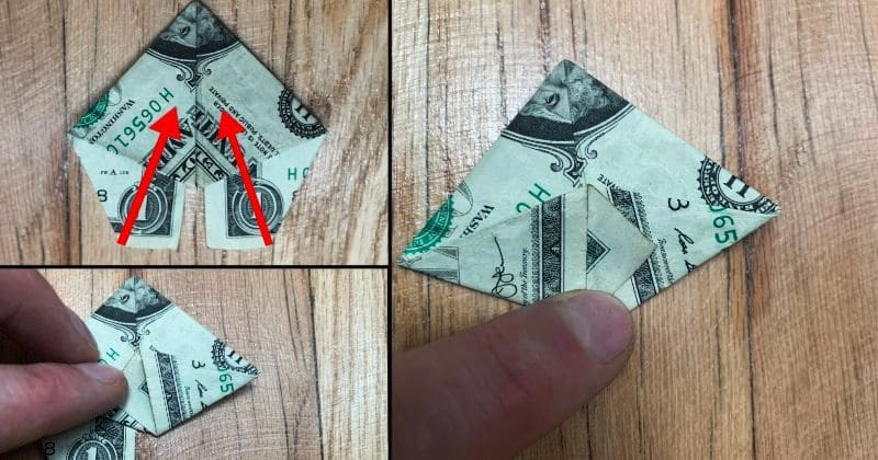Dollar Bill Origami Pyramid 14