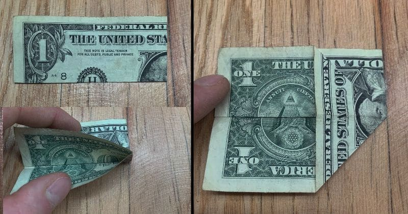 Dollar Bill Origami Pyramid 4