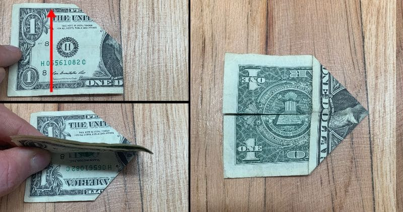 Dollar Bill Origami Pyramid 5