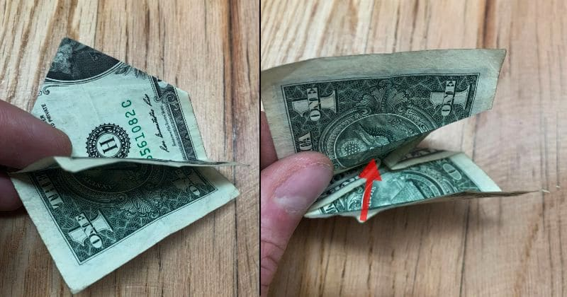 Dollar Bill Origami Pyramid 9