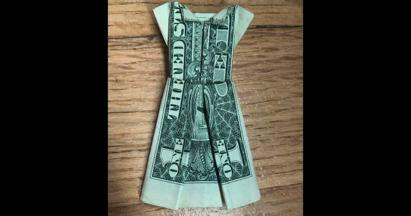 Dollar Bill Origami Dress Complete