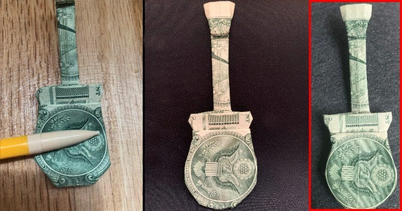 Dollar Bill Origami Guitar Complete