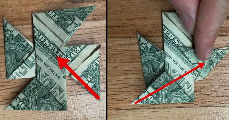 Dollar Bill Origami Ninja Star 13