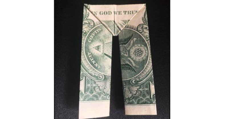 Dollar Bill Origami Pants Completed