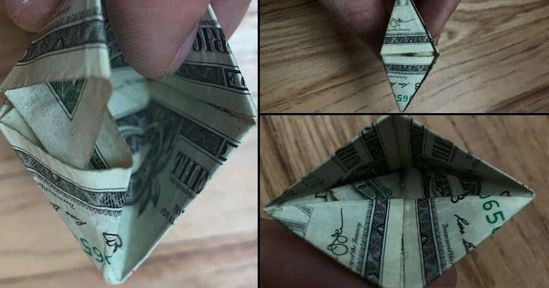 Dollar Bill Origami Pyramid 15