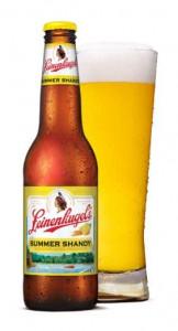 Leinenkugel's Summer Shandy beer bottle and pint glass.