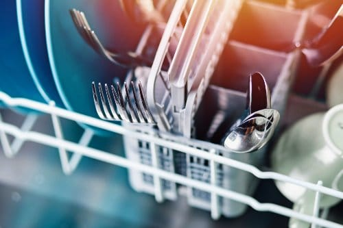 flatware in dishwasher
