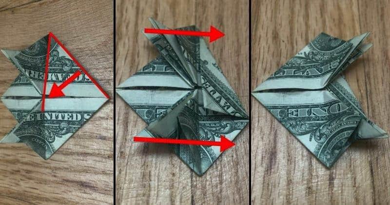 Dollar Bill Origami Frog Step 11
