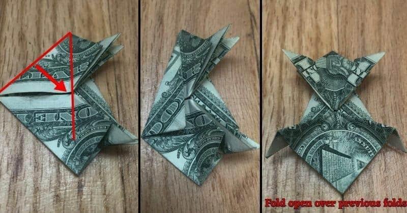 Dollar Bill Origami Frog Step 12