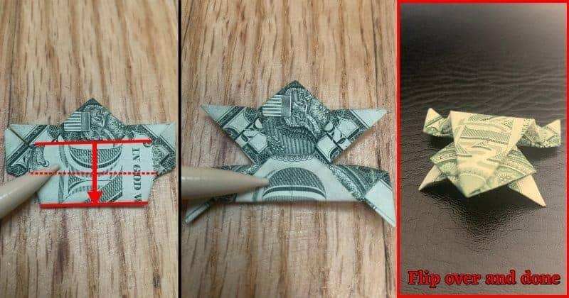 Dollar Bill Origami Frog Step 14
