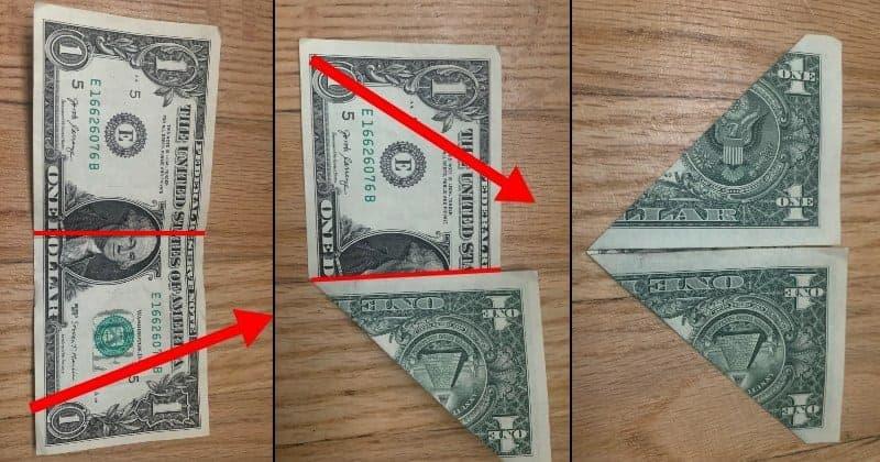 Dollar Bill Origami Frog Step 2