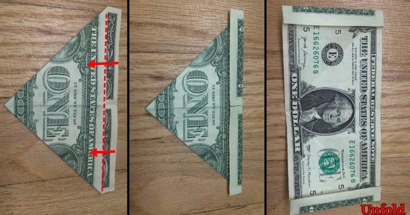 Dollar Bill Origami Frog Step 3