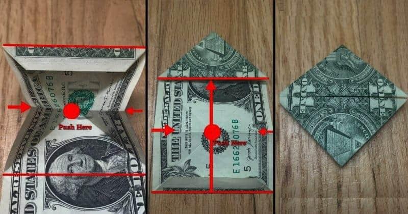 Dollar Bill Origami Frog Step 7
