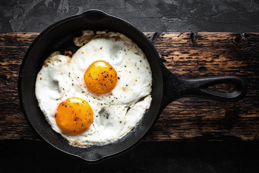 Cooked Eggs in Cast Iron