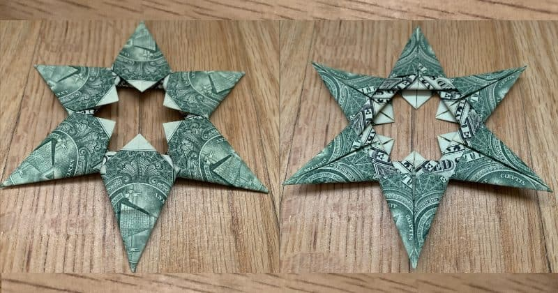 6 Pointed Dollar Bill Origami Star