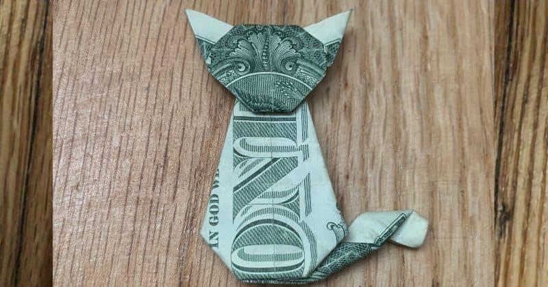 Dollar Bill Money Origami Cat