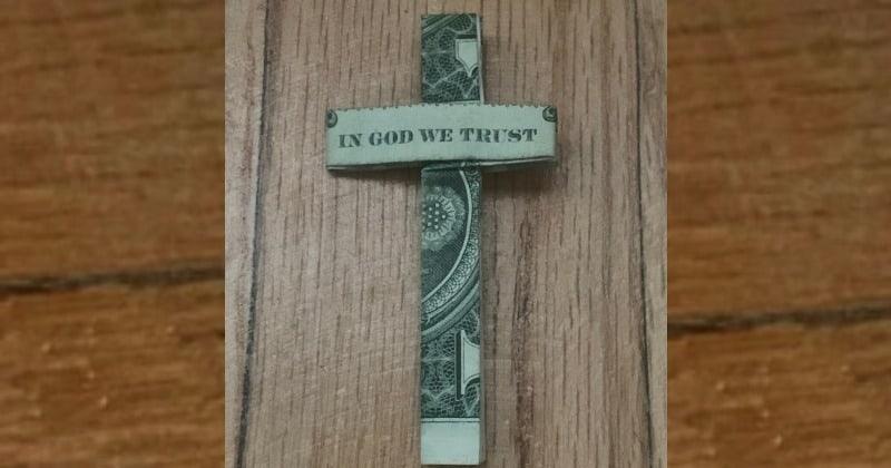 Dollar Bill Money Origami Cross