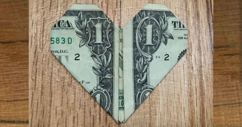 Dollar Bill Money Origami Heart