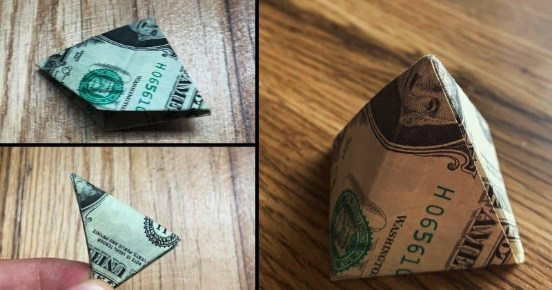 Dollar Bill Money Origami Pyramid