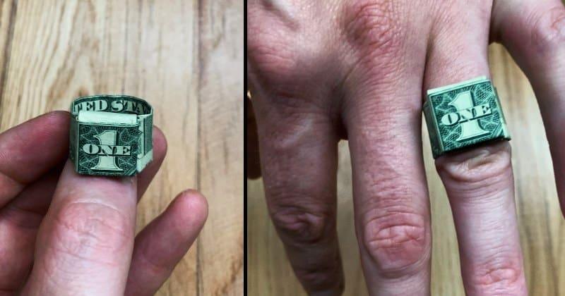 Dollar Bill Money Origami Ring