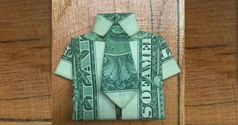 Dollar Bill Money Origami Shirt and Tie