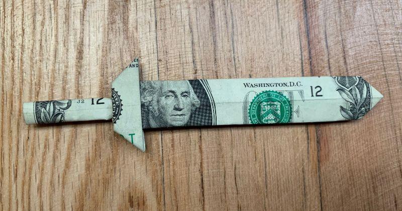 Dollar Bill Money Origami Sword