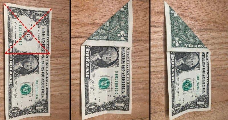 Dollar Bill Origami Cat Step 2