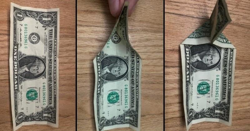 Dollar Bill Origami Cat Step 4