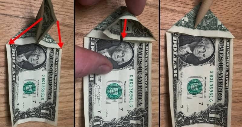 Dollar Bill Origami Cat Step 5
