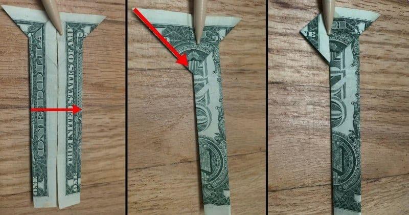 Dollar Bill Origami Cat Step 7a