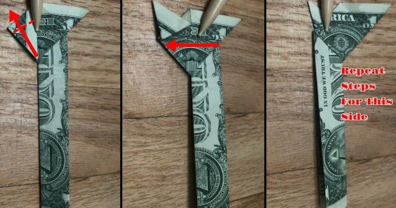 Dollar Bill Origami Cat Step 7c
