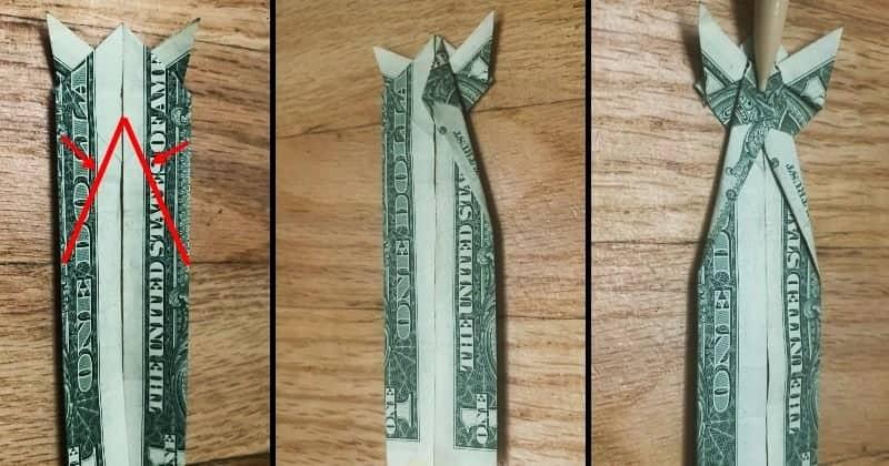 Dollar Bill Origami Cat Step 8