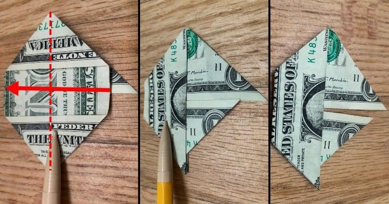 Dollar Bill Origami Sailboat 7