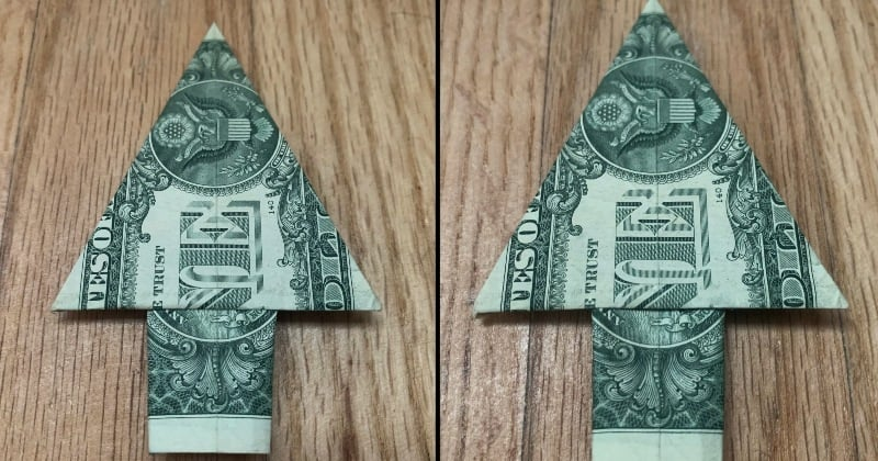 dollar bill origami tree complete