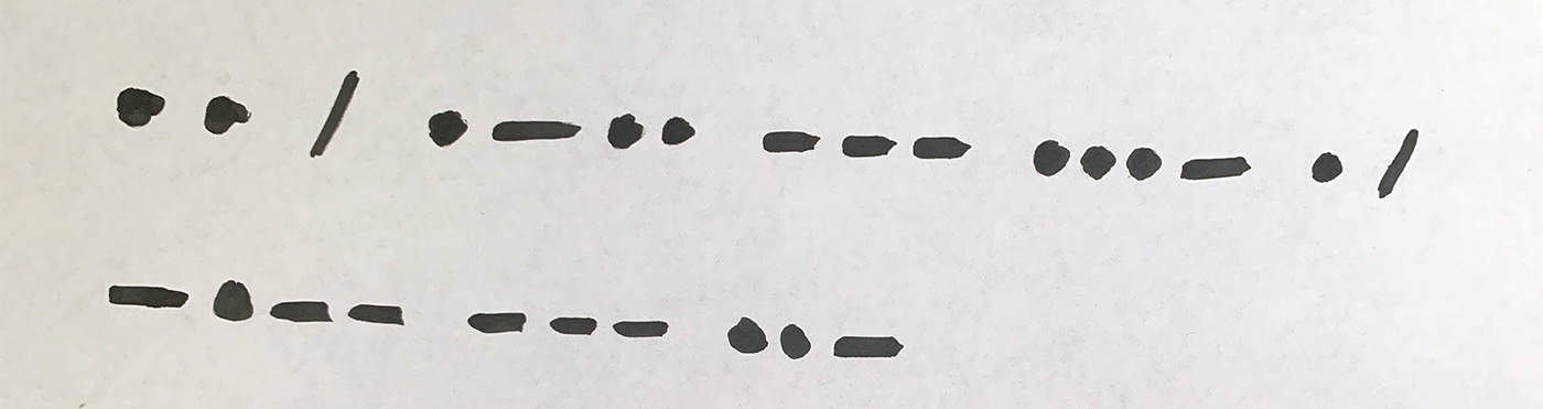 writing I love you in Morse code