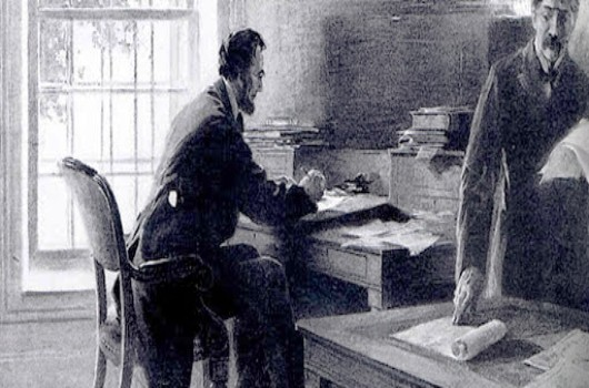 lincoln writing telegram