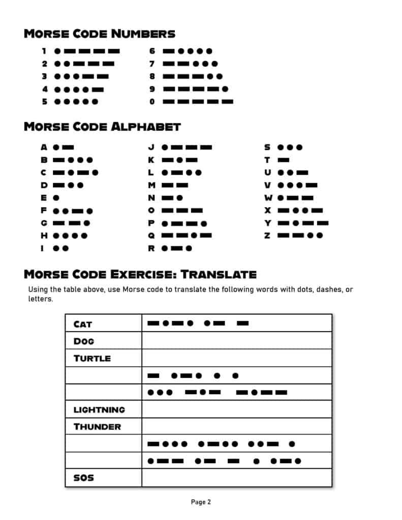 morse code practice worksheet page 2