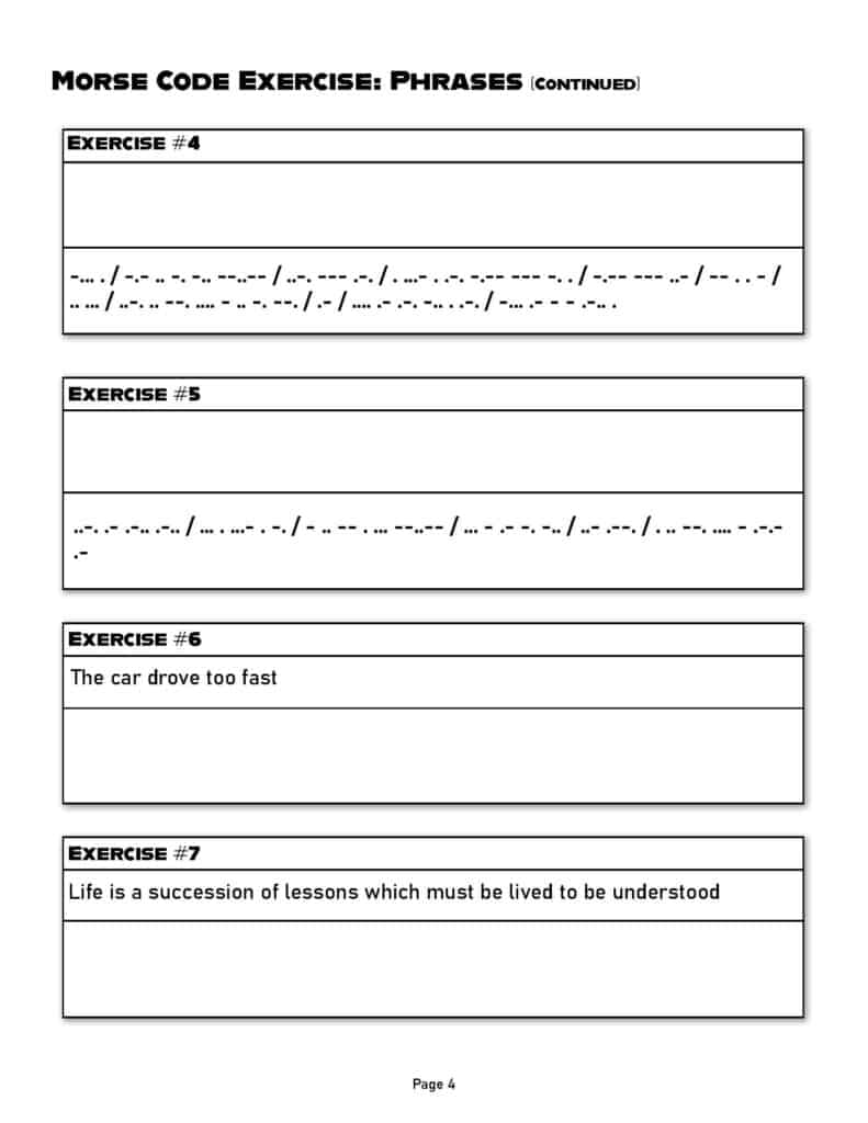 morse code practice worksheet page 4