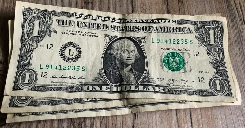 dollar bill origami flower start