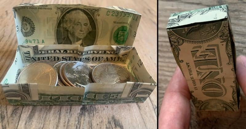 dollar bill money origami box