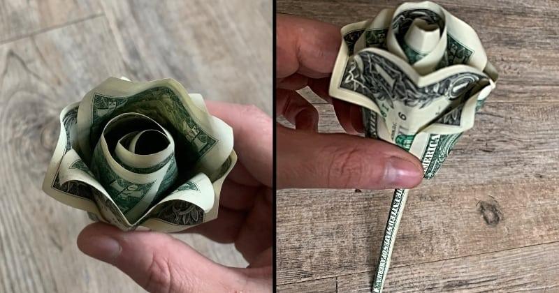 dollar bill money origami rose