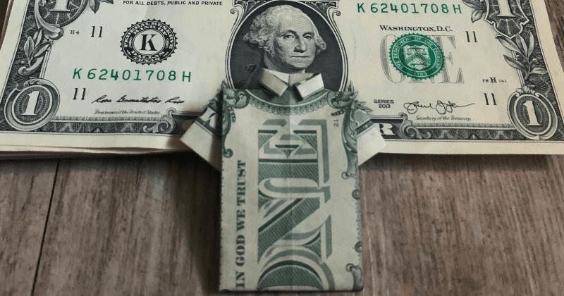 dollar bill money origami shirt