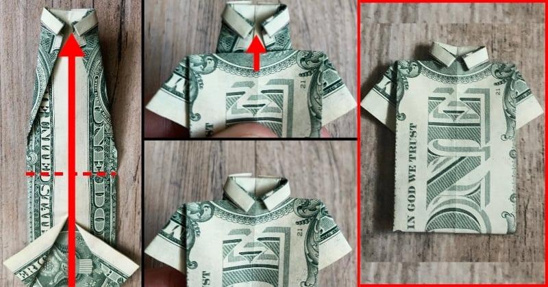 dollar bill origami shirt 9